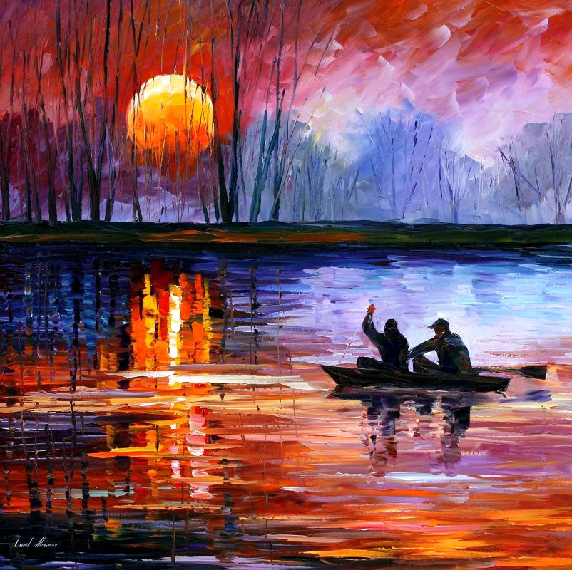 "FISHING ON THE LAKE — PRINT On Canvas By Leonid Afremov - Size 30""x30"""