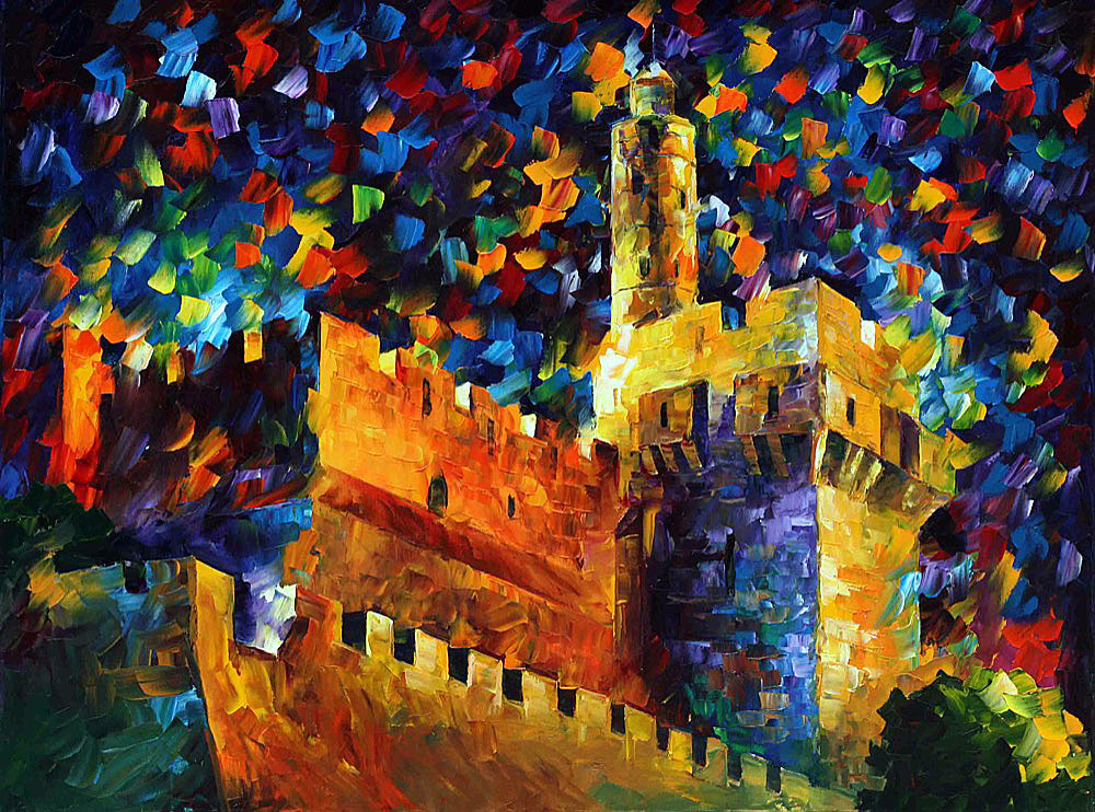 "jerusalem tower of david — PRINT On Canvas By Leonid Afremov - Size 40""x30"" (100cm x 75cm)"