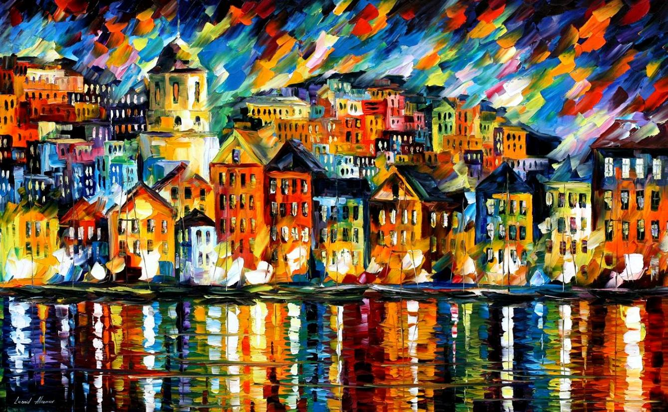 "GREECE — HARBOR — PALETTE KNIFE Oil Painting On Canvas By Leonid Afremov - Size 40""x24"" (100cm x 60 cm) (offer)"
