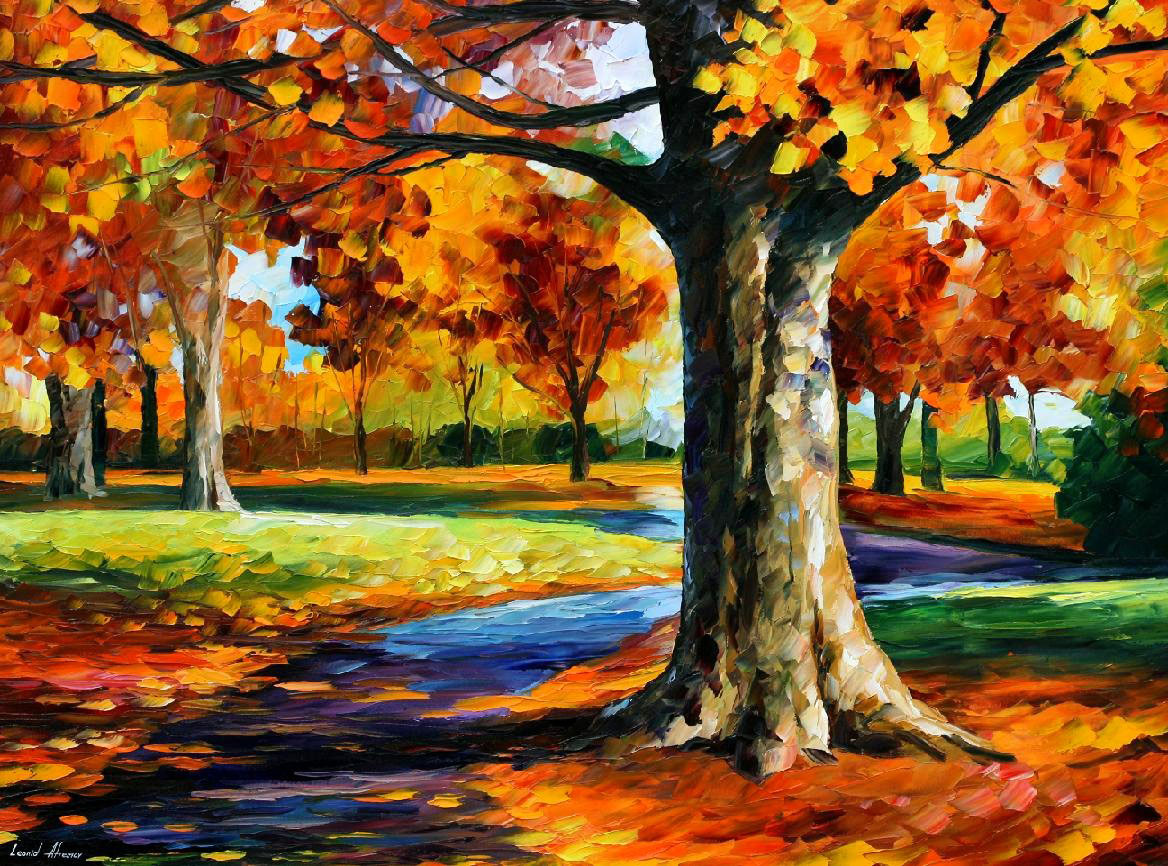 "BRISTOL FALL — PALETTE KNIFE Oil Painting On Canvas By Leonid Afremov - Size 40""x30"" (offer)"