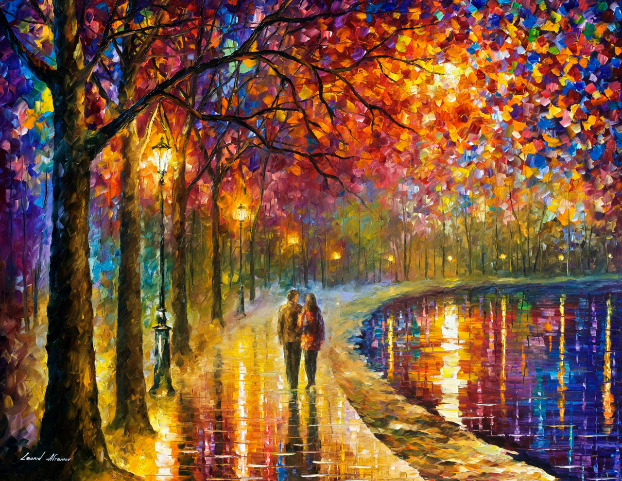 "SPIRITS BY THE LAKE — PALETTE KNIFE Oil Painting On Canvas By Leonid Afremov - Size 40""x30""  (offer)"