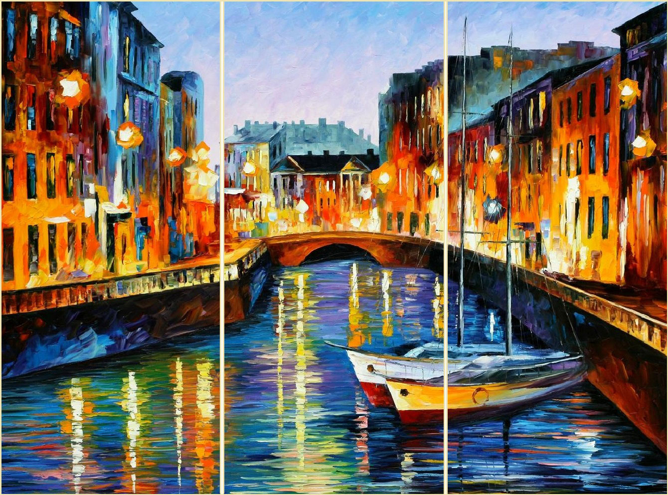 "EVENING RIVER    ST. PETERSBURG — Set of 3 paintings  total size 90""x60"" (180cmx 100cm)"