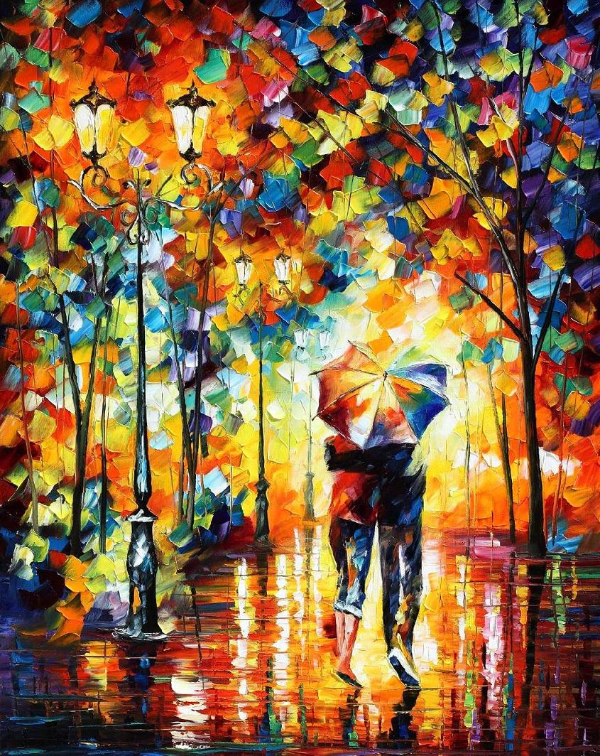 UNDER ONE UMBRELLA — PALETTE KNIFE Oil Painting On Canvas By Leonid Afremov - Size 40x54