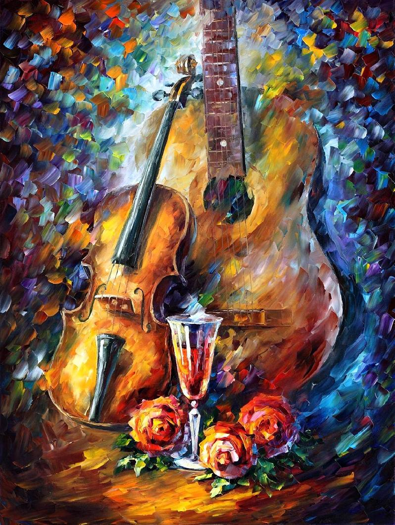 GUITAR AND VIOLIN Original Oil Painting On Canvas By Leonid Afremov