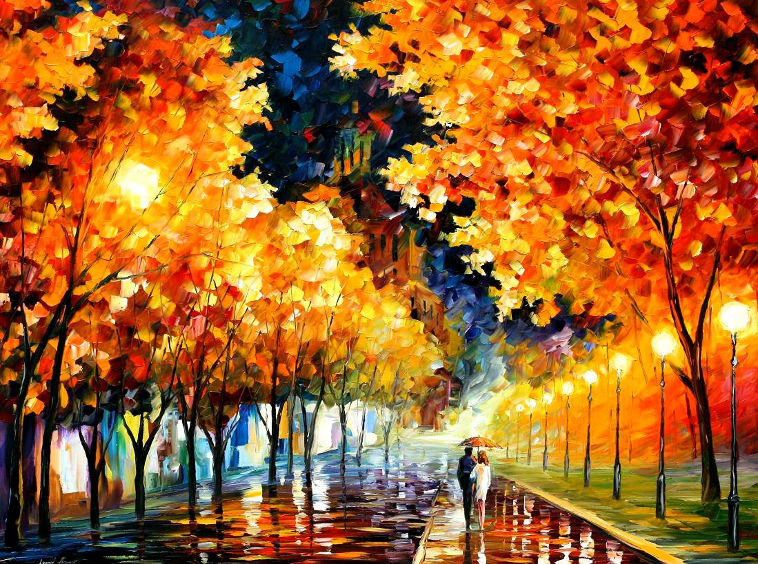"GOLD BOULEVARD — PALETTE KNIFE Oil Painting On Canvas By Leonid Afremov - Size 40""X30"" (75cm x 100cm)"