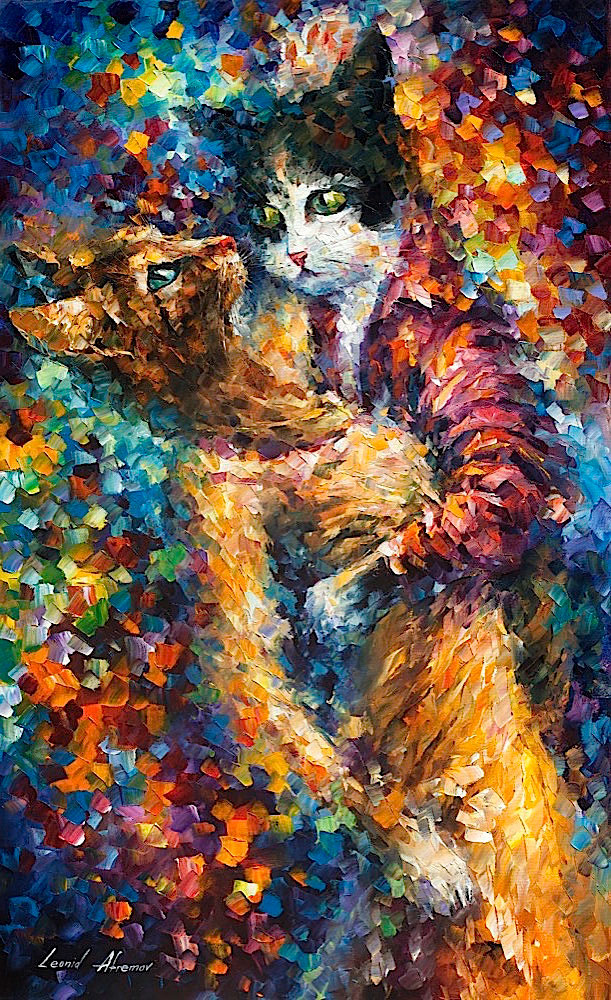 "CAT TANGO - Palette Knife Oil Painting On Canvas By Leonid Afremov - 24""X40"""