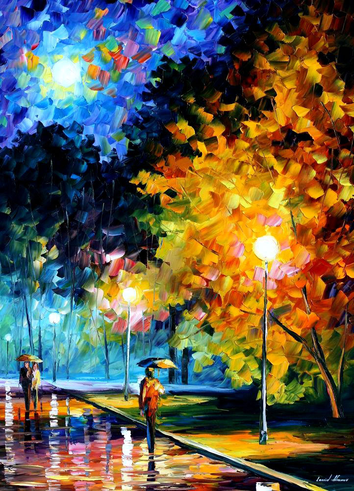 "New-BLUE MOON — ORIGINAL Oil Painting On Canvas By Leonid Afremov - Size 30""x40"" (75cm x 100cm)"