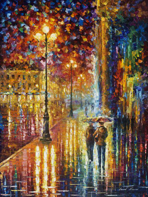 "DATE IN THE CITY — PALETTE KNIFE Oil Painting On Canvas By Leonid Afremov - Size 30""x40""(75cm x 100cm)"