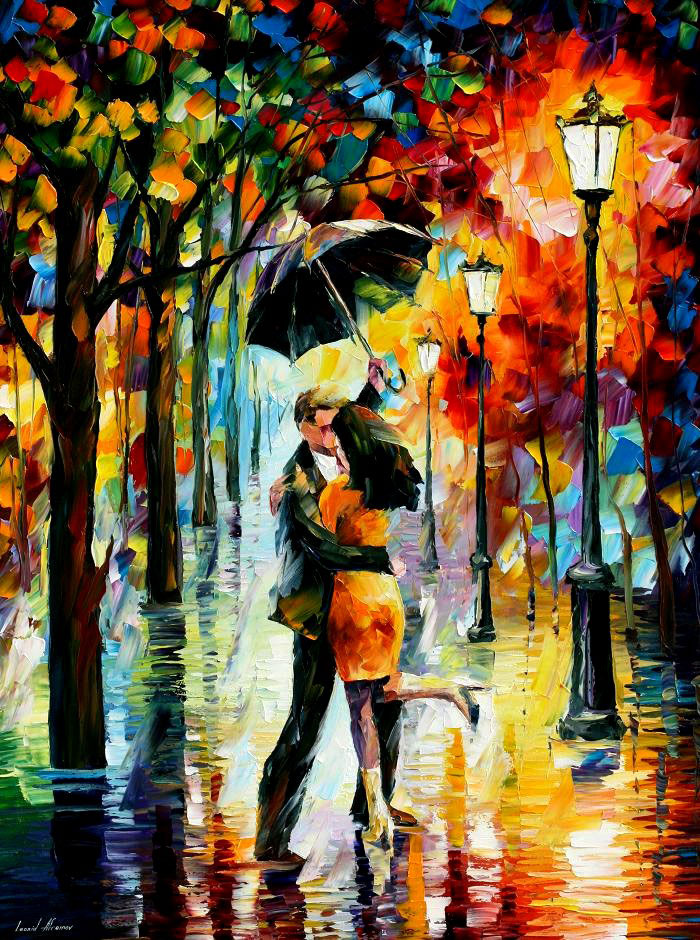 "DANCE UNDER THE RAIN —Original  KNIFE Oil Painting On Canvas By Leonid Afremov - Size 30""x40"" (75cm x 100 cm)"