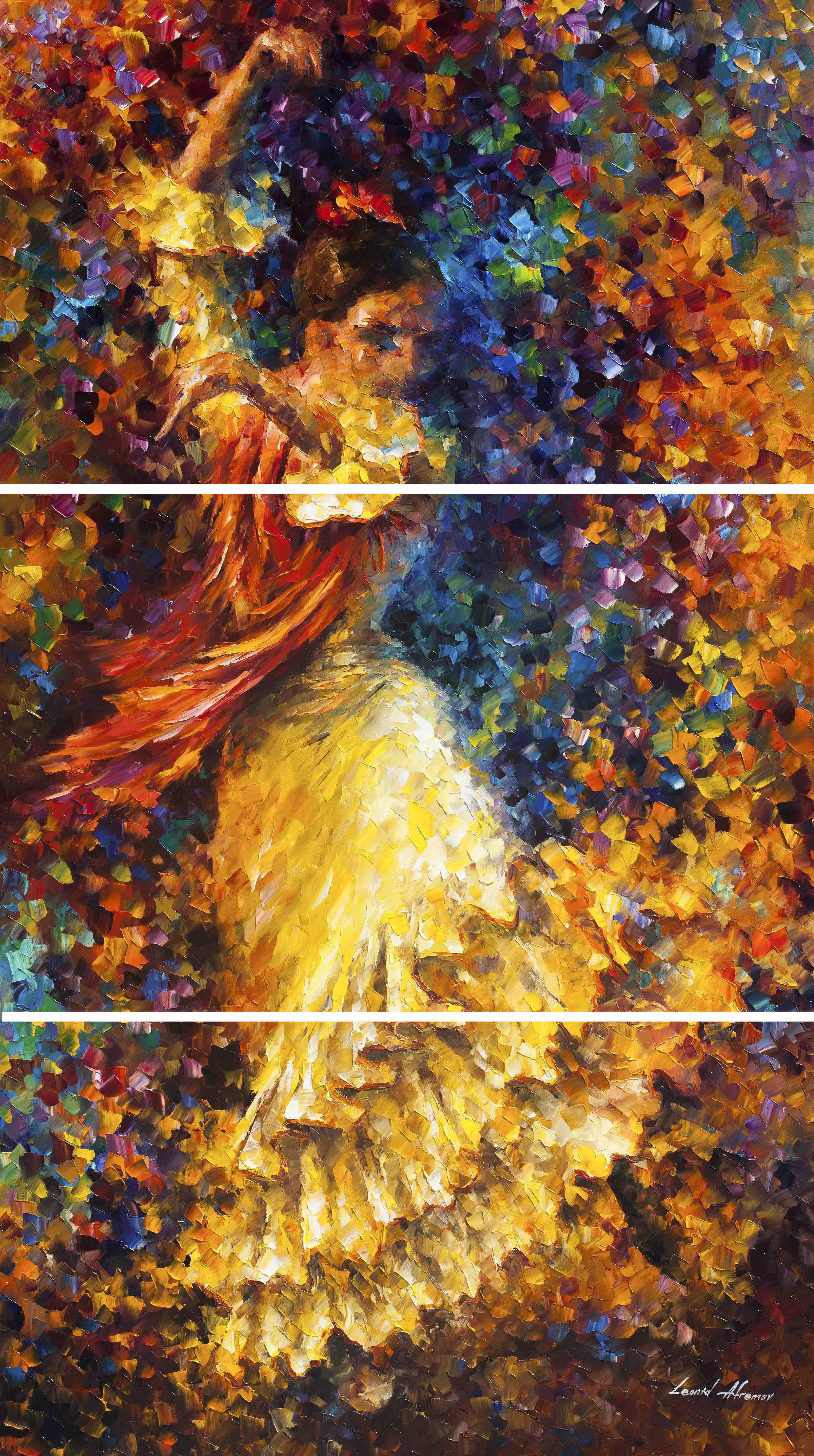 "FLAMENCO AND FIRE - Original set  of 3 oil Painting On Canvas By Leonid Afremov - size 38""x50"" each  - Stretched"