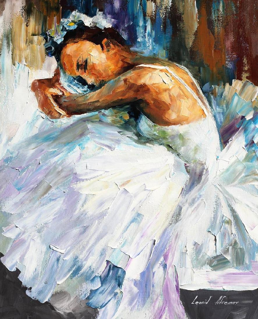BALLERINA 2 — Palette knife Oil Painting  on Canvas by Leonid Afremov  - Size 30x40""