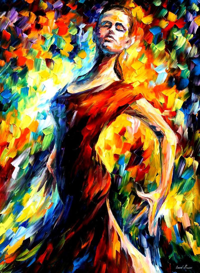 "IN THE STYLE OF FLAMENCO — Print  on Canvas by Leonid Afremov  - Size 16""x20"" (40cm x 50cm)"