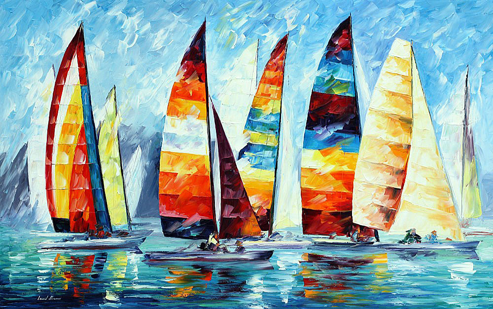 SAIL REGATTA — PALETTE KNIFE Oil Painting On Canvas By Leonid Afremov - Size 120cmx180