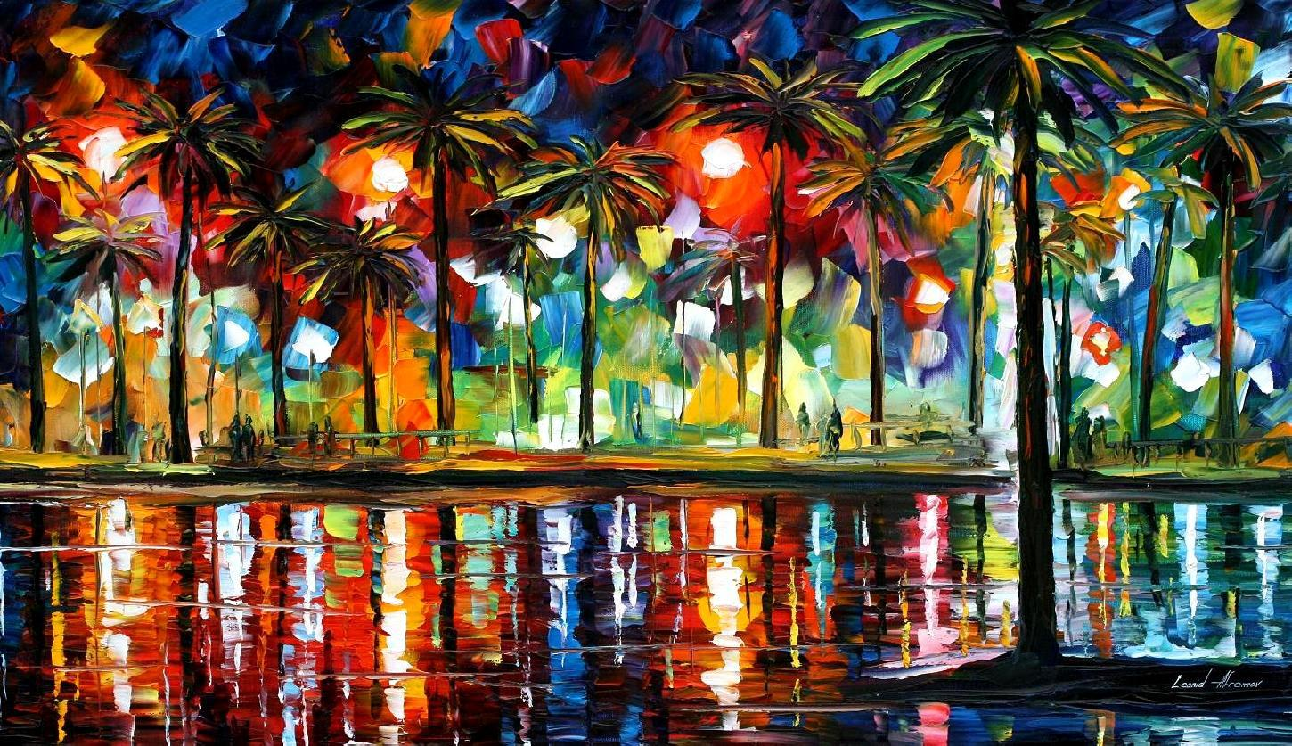 tropical fiesta palette knife oil painting on canvas by leonid