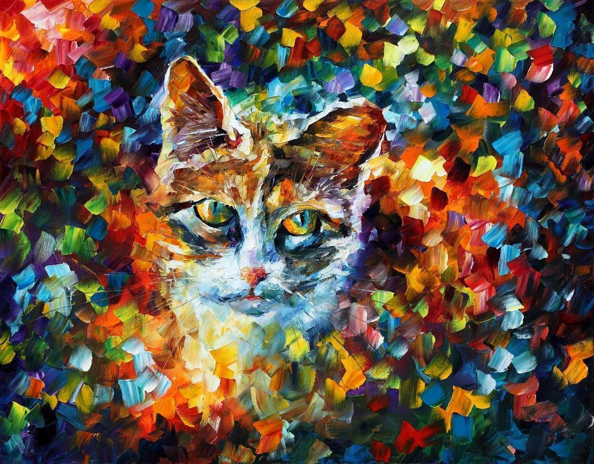 "Mona, The Cat — Palette knife Oil Painting  on Canvas by Leonid Afremov  - Size 30""x24""  (75cm x 60cm)"