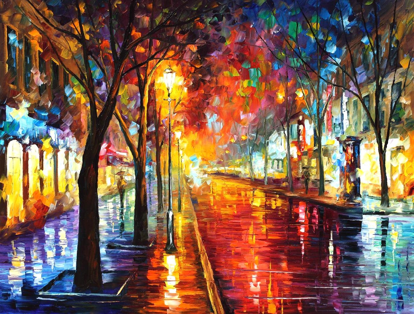 Street Of The Old Town Palette Knife Oil Painting On