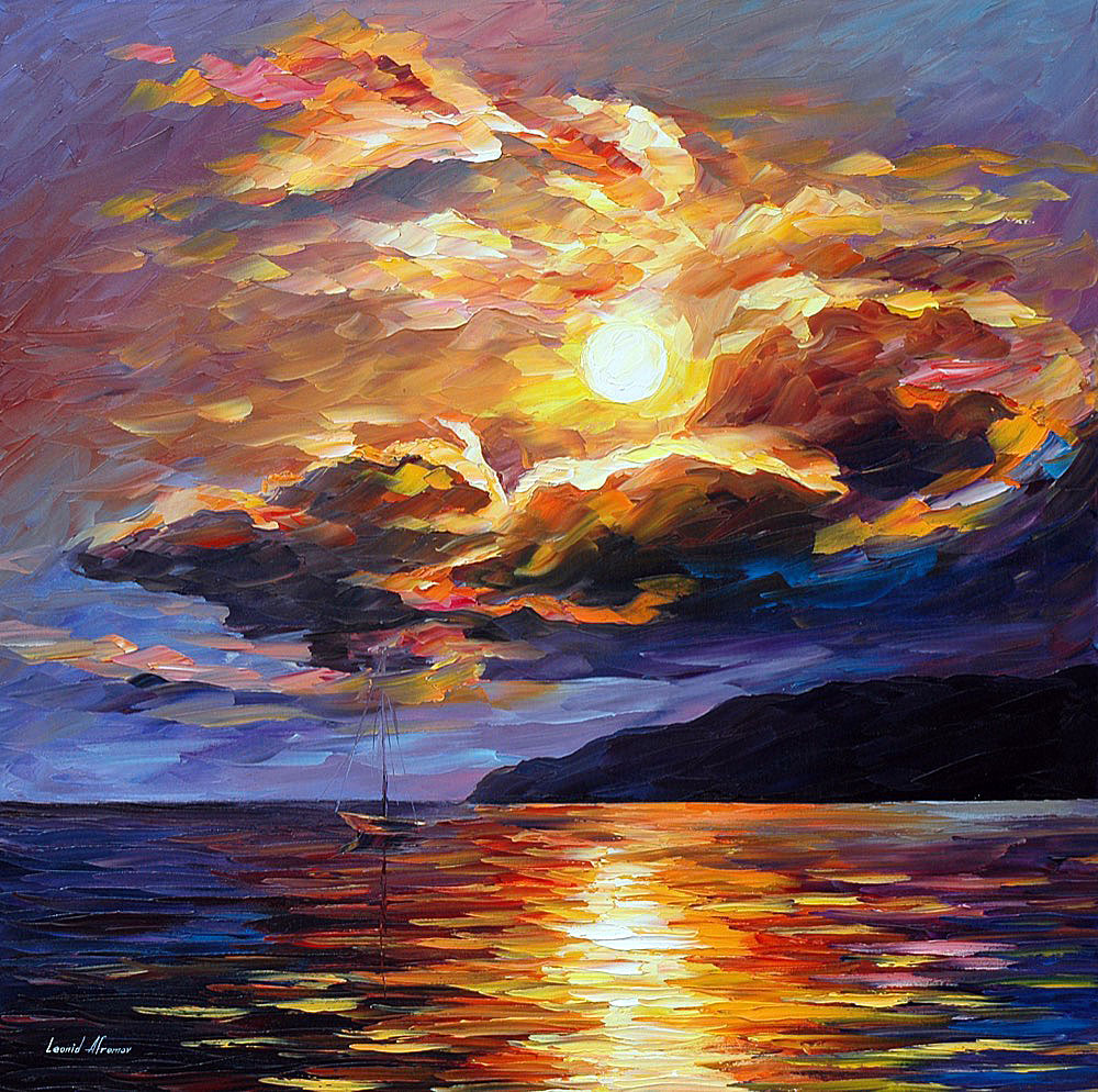 "GOLD CLOUDS — Limited edition Original Oil Painting On Canvas By Leonid Afremov - Size 30""x30"" (75cm x 75cm)"