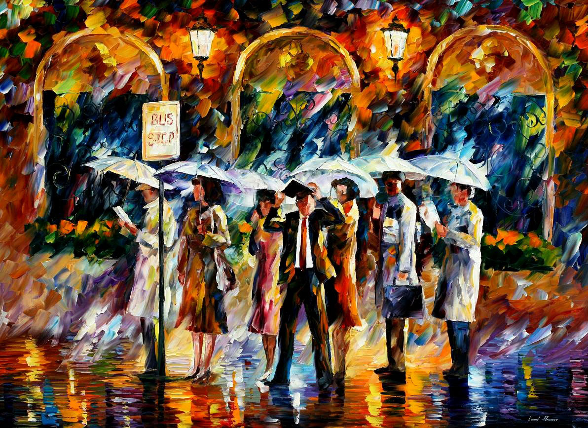 "BUS STOP — Print On Canvas By Leonid Afremov - Size 40""X30"""