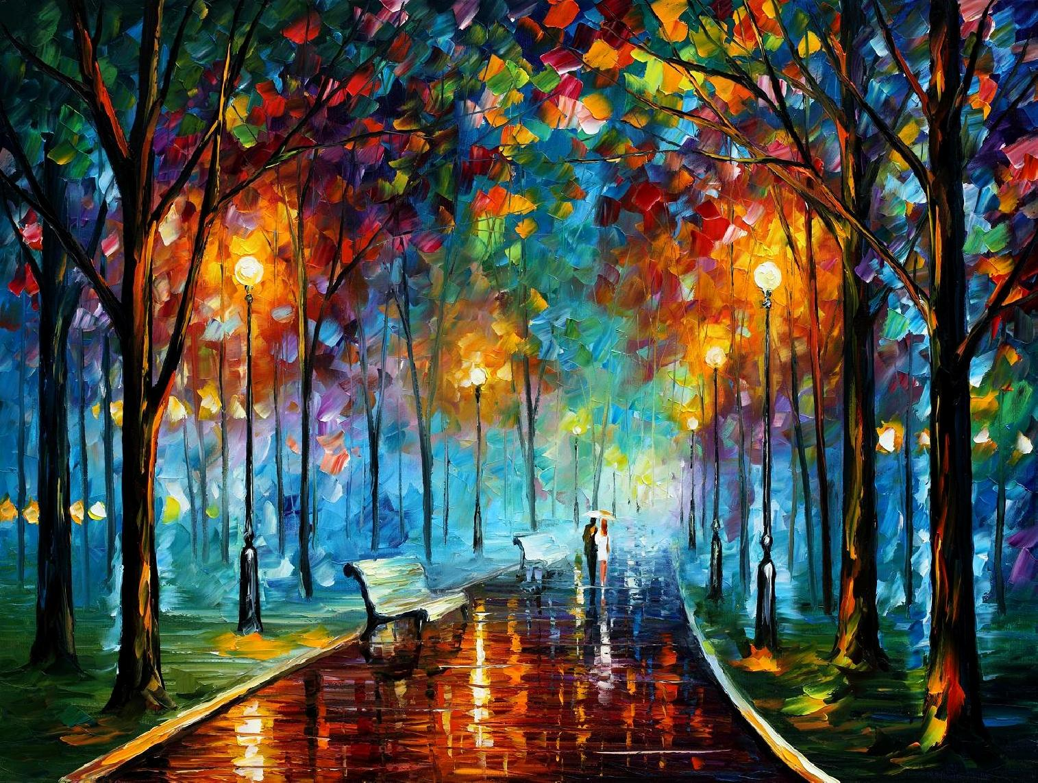 "MISTY MOOD 2 — PALETTE KNIFE Oil Painting On Canvas By Leonid Afremov - Size 40""x 30"" offer"
