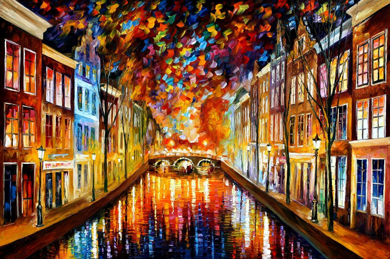 "NIGHT AMSTERDAM — PALETTE KNIFE Oil Painting On Canvas By Leonid Afremov - Size 36""x24""(90cm x 60cm) (offer)"