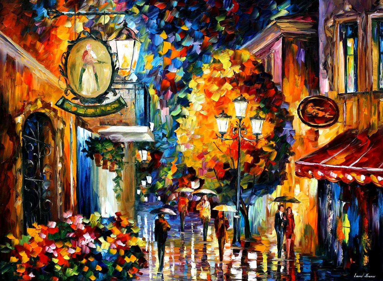 "CAFE IN THE OLD CITY — PALETTE KNIFE Oil Painting On Canvas By Leonid Afremov - Size 40""X30"" (100cm x 75cm)  (offer)"