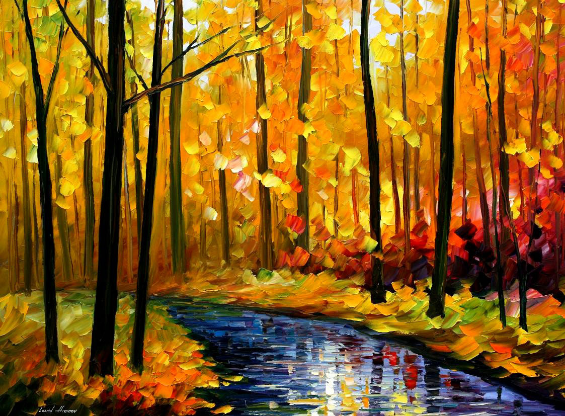 "FALL STREAM — PALETTE KNIFE Oil Painting On Canvas By Leonid Afremov - Size 40""X30"" (offer)"