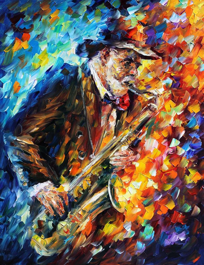 "SAXOPHONIST — PALETTE KNIFE Oil Painting On Canvas By Leonid Afremov - Size 30""x36"" (offer)"