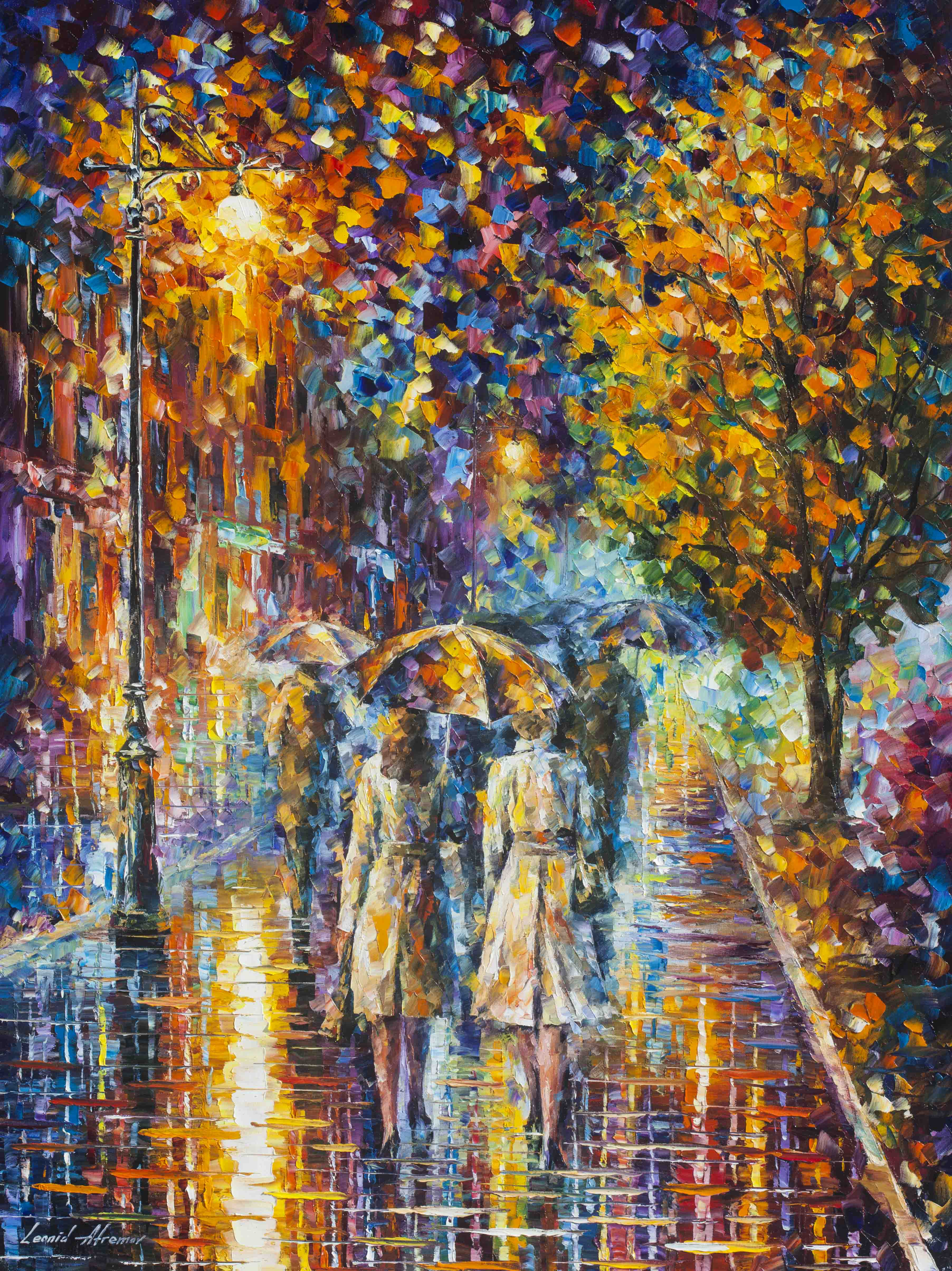 RAINY EVENING - PALETTE KNIFE Oil Painting On Canvas By ...