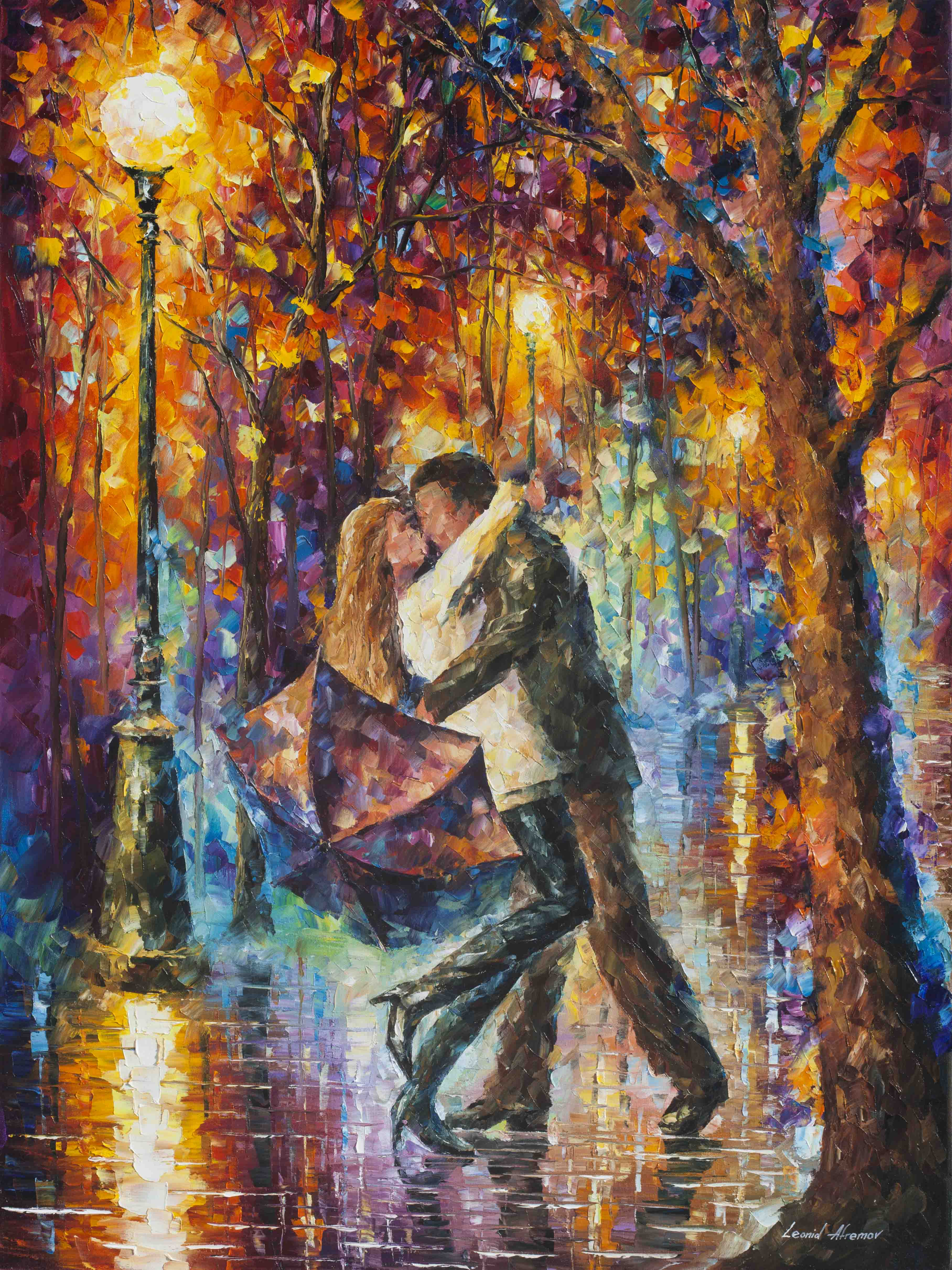 The Story Of The Umbrella Pallete Knife Oil Painting On