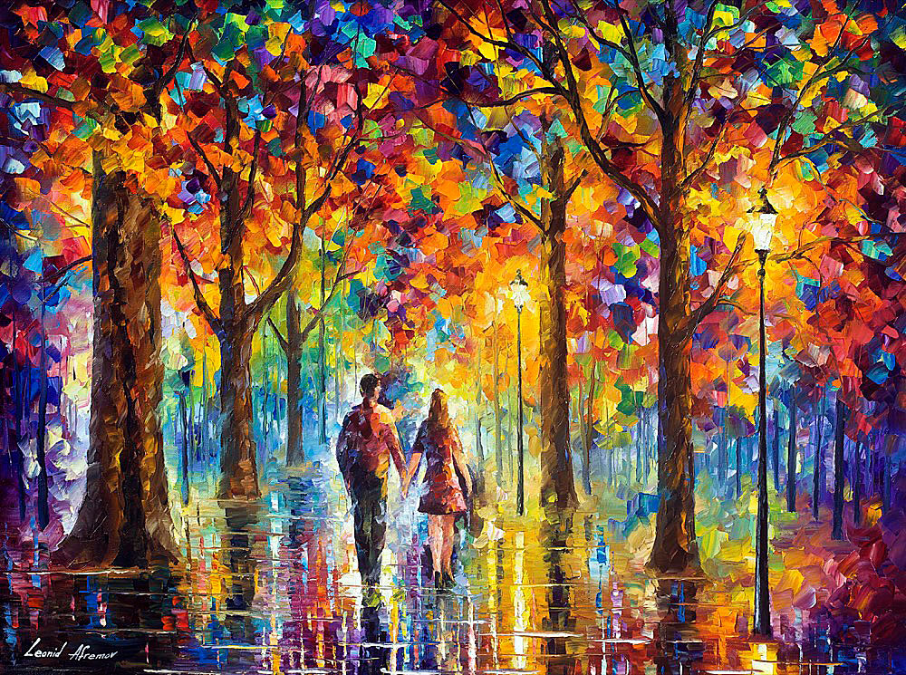 "LOVERS — PALETTE KNIFE Oil Painting On Canvas By Leonid Afremov - Size 48""x36"""