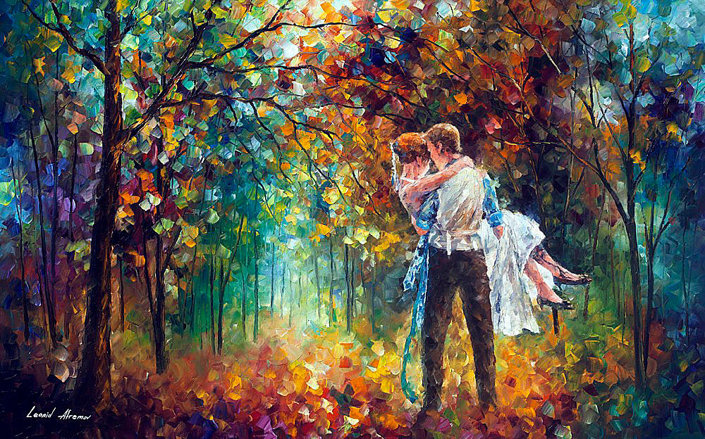 "THE MOMENT OF LOVE — PALETTE KNIFE Oil Painting On Canvas By Leonid Afremov - Size 32""X24"" (80cm x 60cm)"