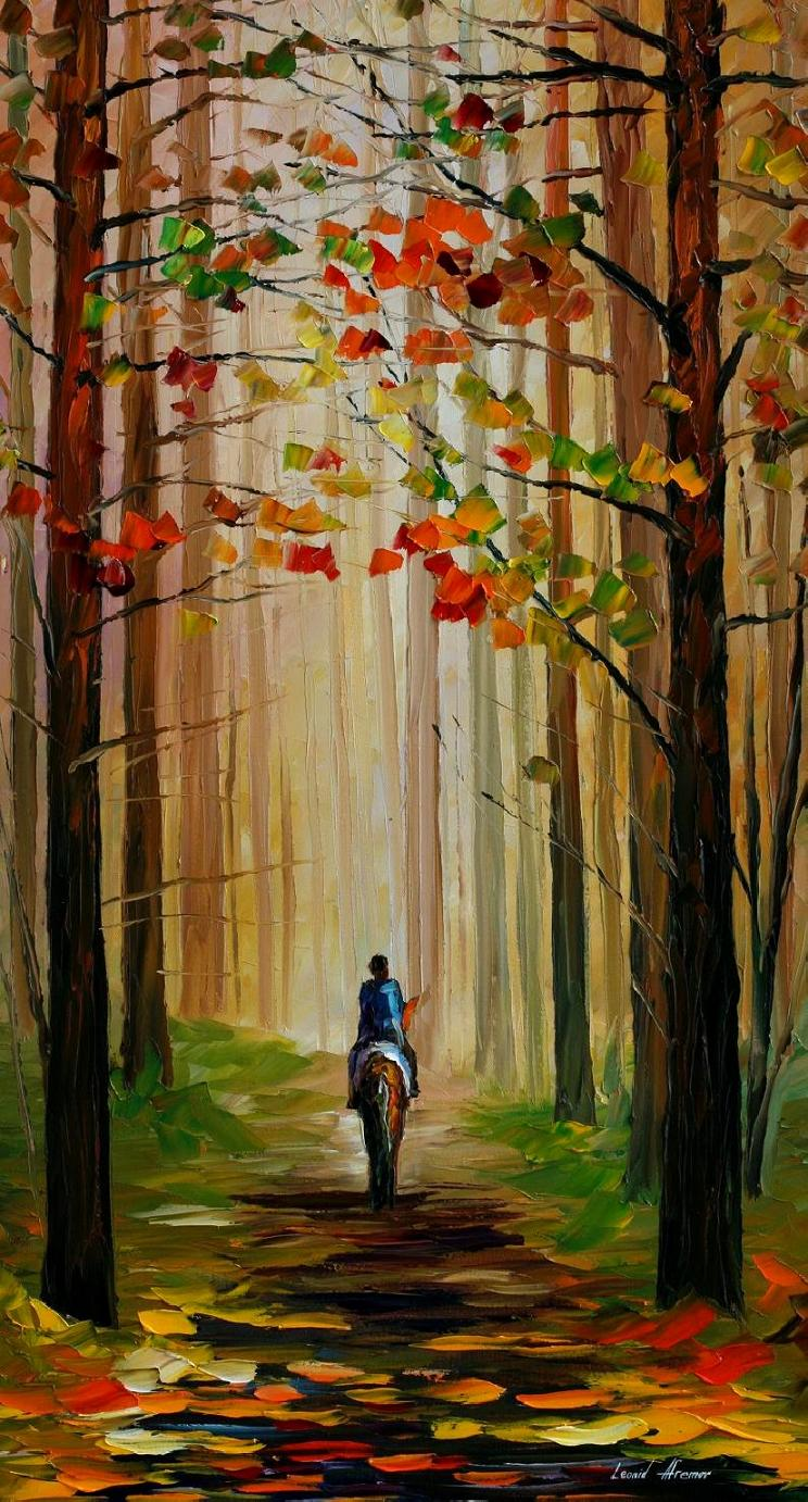 "AUTUMN STROLL ON A HORSE — PALETTE KNIFE Oil Painting On Canvas By Leonid Afremov - Size 24""X40"""