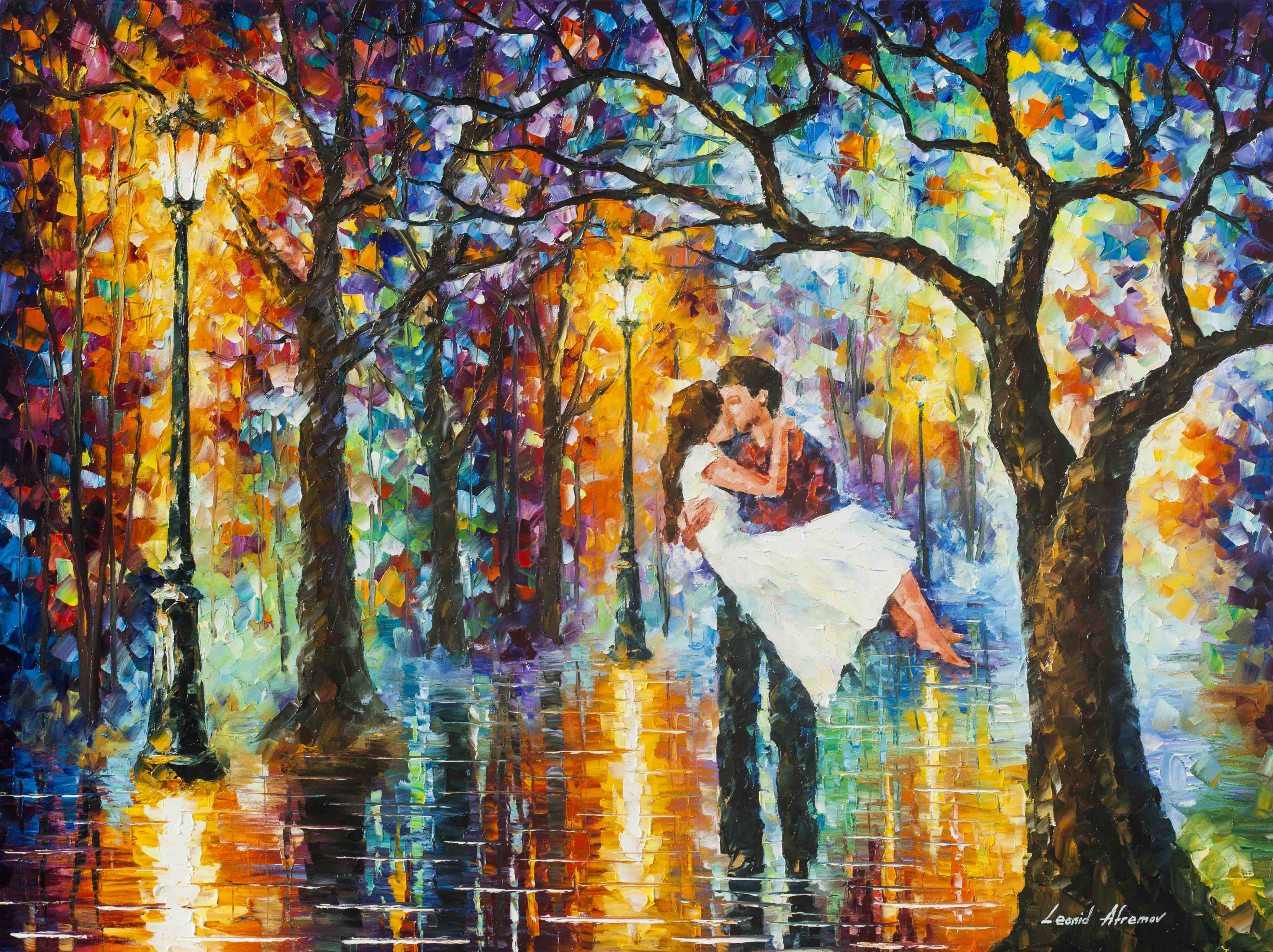 Spring emotions palette knife oil painting on canvas by for Spring canvas paintings