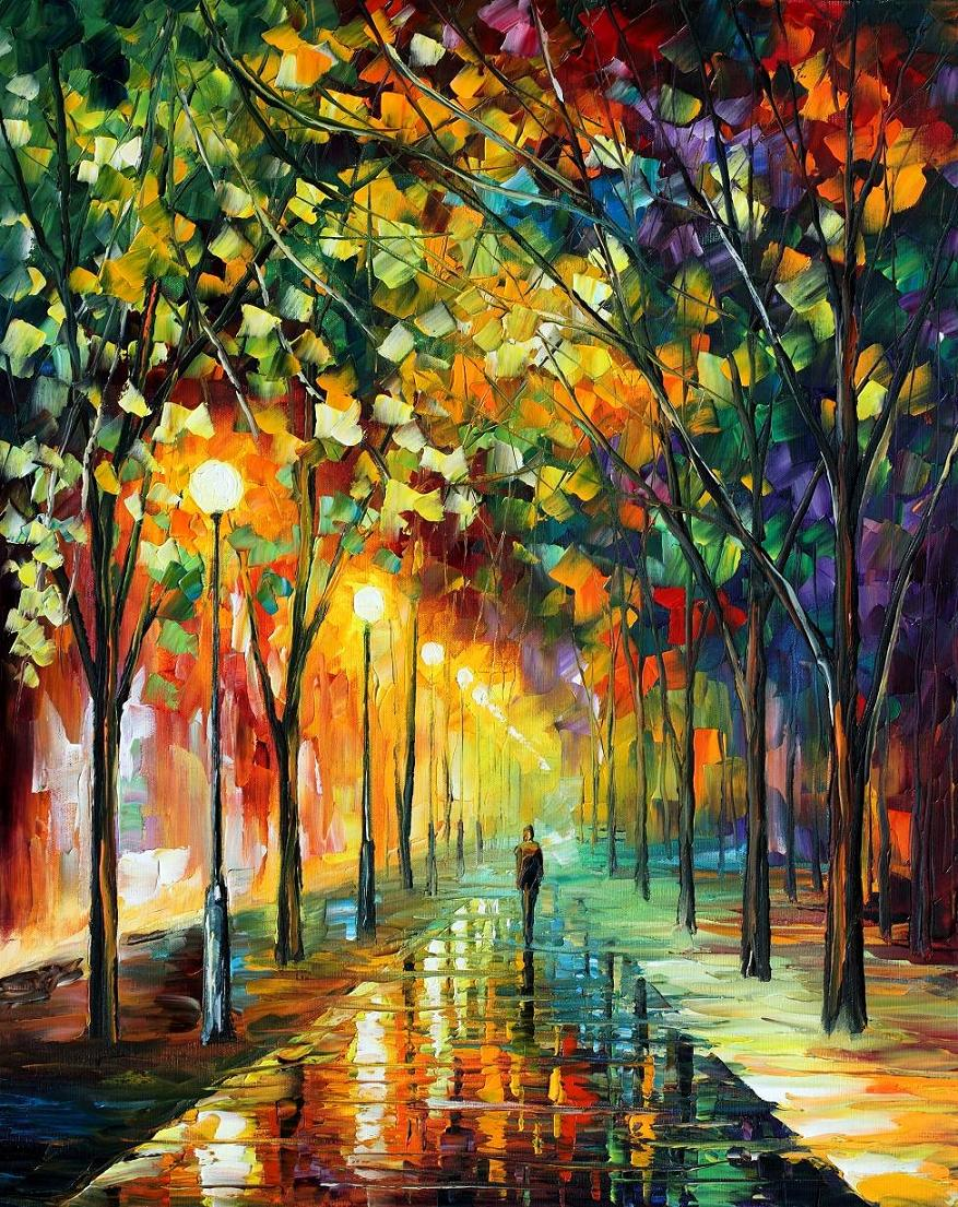 "GREEN DREAMS — PALETTE KNIFE Oil Painting On Canvas By Leonid Afremov - Size 24""x30"" (offer)"