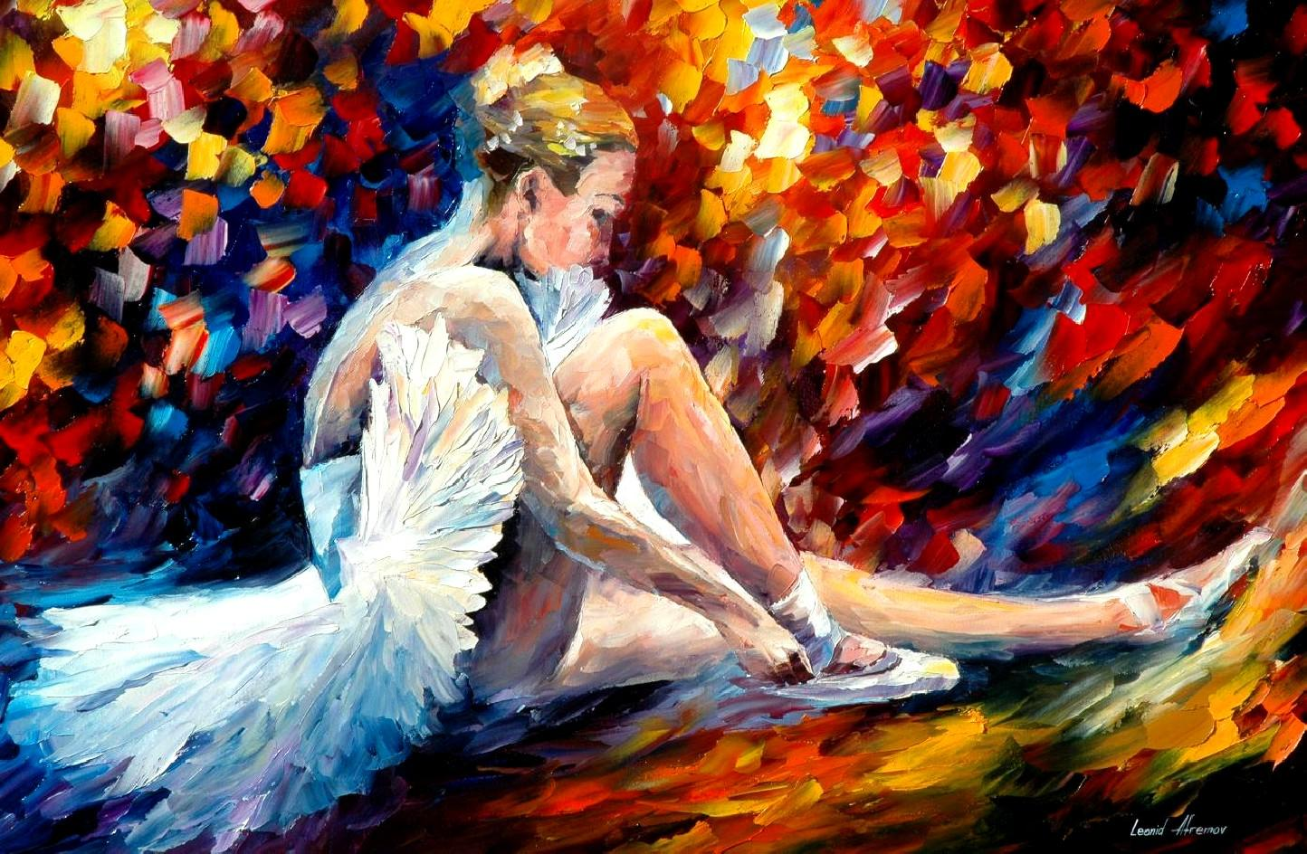 "YOUNG BALLERINA — Palette knife Oil Painting  on Canvas by Leonid Afremov  - Size 36""x24"" (offer)"