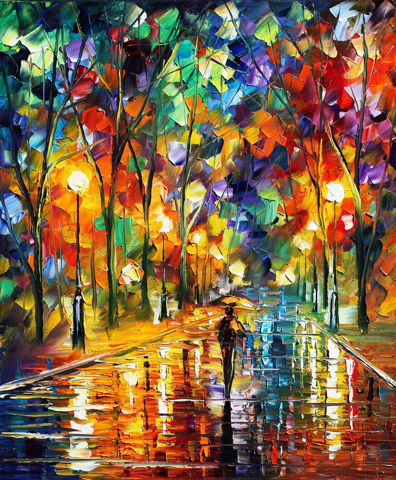 "Pretty Night — PALETTE KNIFE Oil Painting On Canvas By Leonid Afremov - Size 20""X24"""