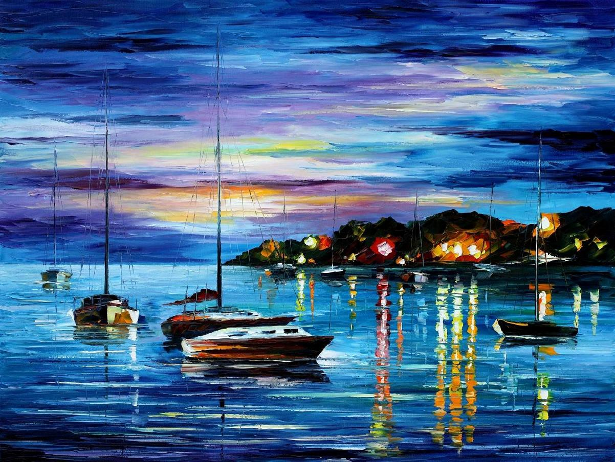 "MYSTERY OF THE NIGHT — Original Oil Painting On Canvas By Leonid Afremov - Size 40""x30"""