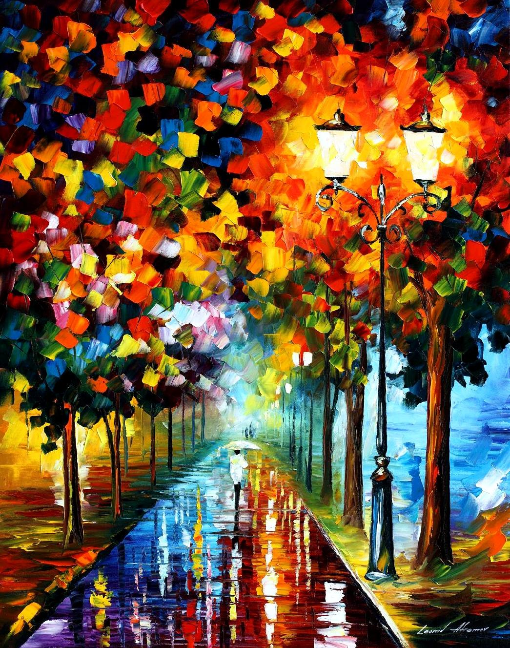 "BURST OF COLORS — PALETTE KNIFE Oil Painting On Canvas By Leonid Afremov - Size 30""X36"" (75cm x 90cm)"