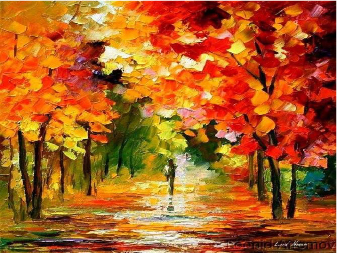 "AUTUMN WORDS  -  PALETTE KNIFE Oil Painting On Canvas By Leonid Afremov - 30""X24"" (75cm x 60cm)"