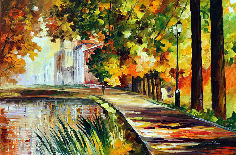 "SUMMER POND - ORIGINAL Oil Painting On Canvas By Leonid Afremov - Size 72""X48"" (180cm x 120cm)"