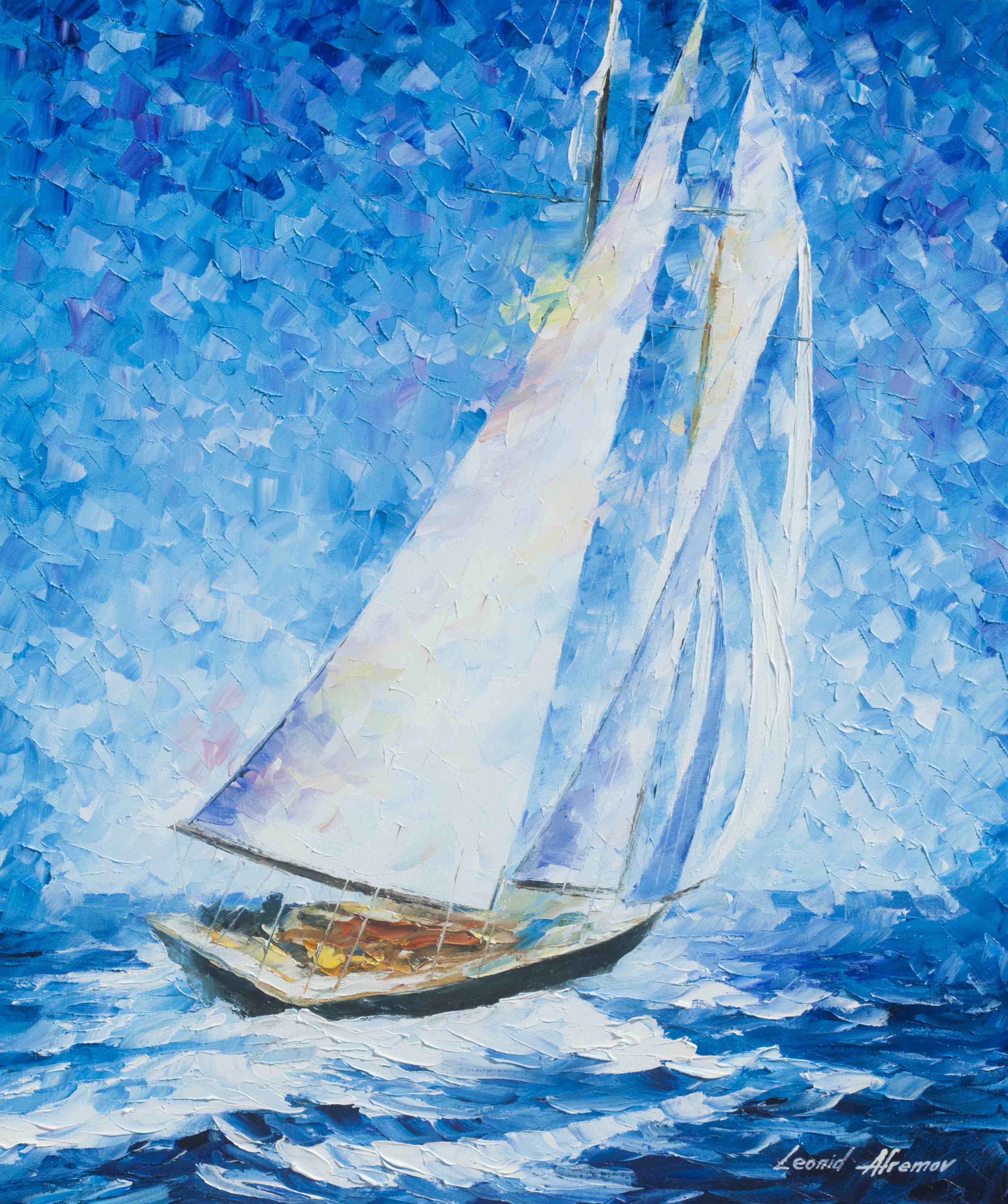 PLAYA DEL CARMEN SAILING -  PALETTE KNIFE Oil Painting On Canvas By Leonid afremov size 30x40