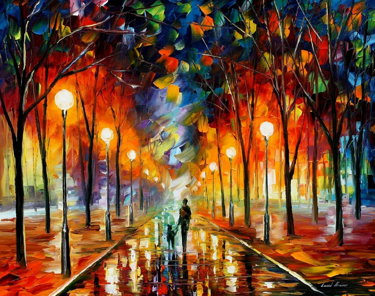 "FRIENDSHIP — PALETTE KNIFE Oil Painting On Canvas By Leonid Afremov - Size 40""X30"""