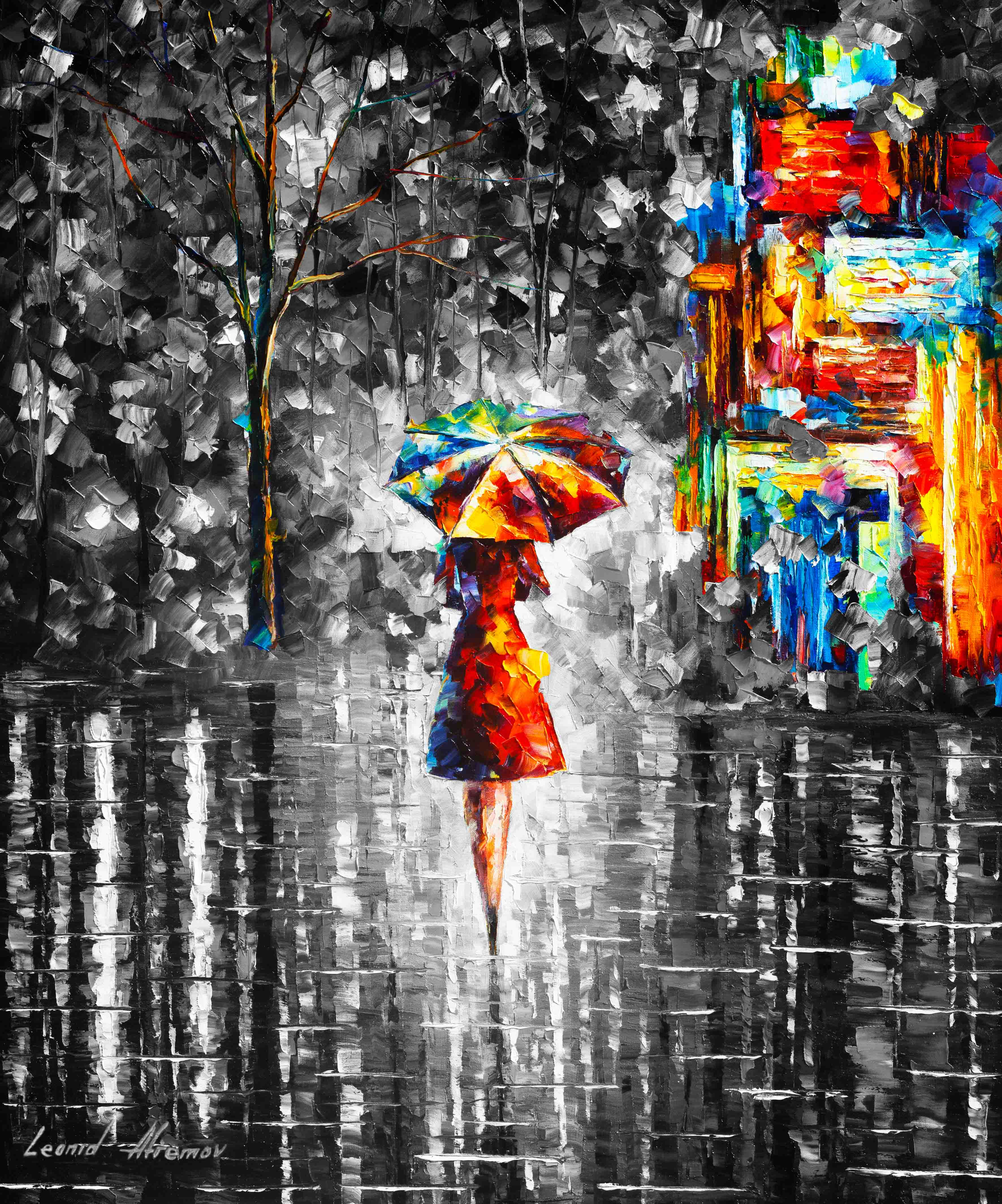 "Rain Princess 3 — Mixed media oil on canvas and limited edition giclee On Canvas By Leonid Afremov - Size  30""x40""  (75cm x 100cm) (offer)"