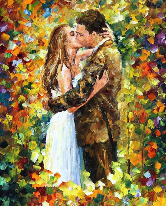 "ROMANTIC KISS— PALETTE KNIFE Oil Painting On Canvas By Leonid Afremov - Size 30""x40""  (offer)"