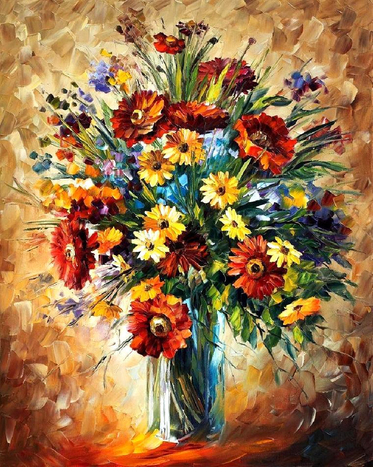 "MAGIC FLOWERS — Palette knife Oil Painting  on Canvas by Leonid Afremov  - Size 24""X30""(60cm x 75cm) (offer)"