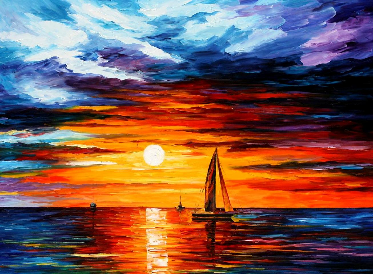 "TOUCH OF HORIZON — PALETTE KNIFE Oil Painting On Canvas By Leonid Afremov - Size 40""X30"" (offer)"