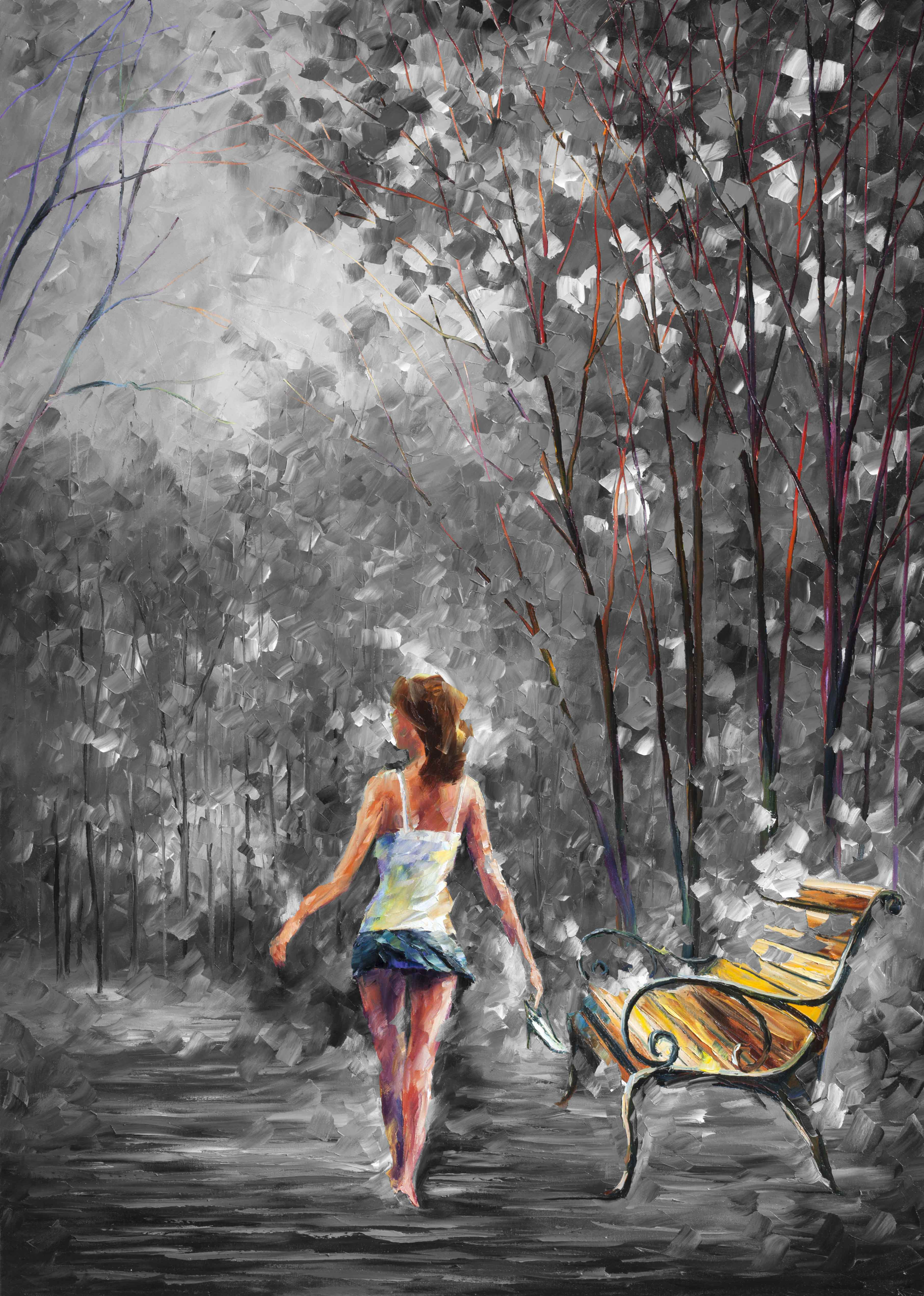 "BAREFOOTED STROLL — Limited Edition of 15 Black and White mixed  PALETTE KNIFE Oil Painting On Canvas By Leonid Afremov - Size 30""x40"" (75cm x 100cm)"