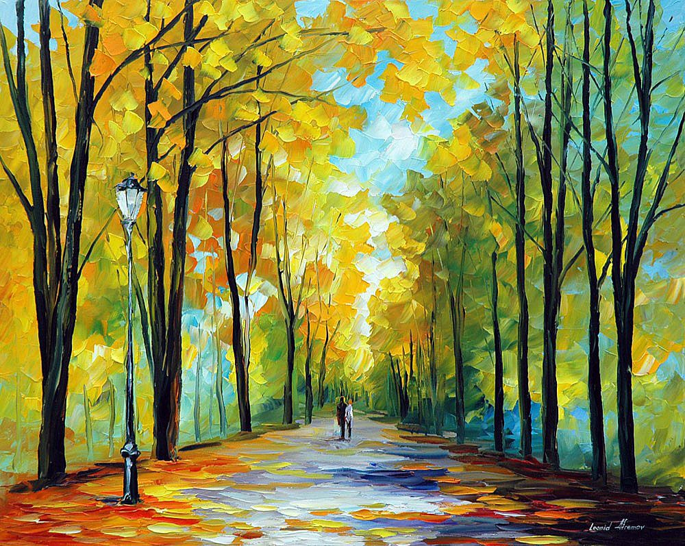 "HAPPY MORNING — PALETTE KNIFE Oil Painting On Canvas By Leonid Afremov - Size 24""x30"" (60cm x 75cm) (offer)"