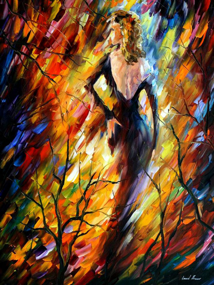 "QUEEN OF FIRE — Palette knife Oil Painting  on Canvas by Leonid Afremov  - Size 30""x40"" (offer)"