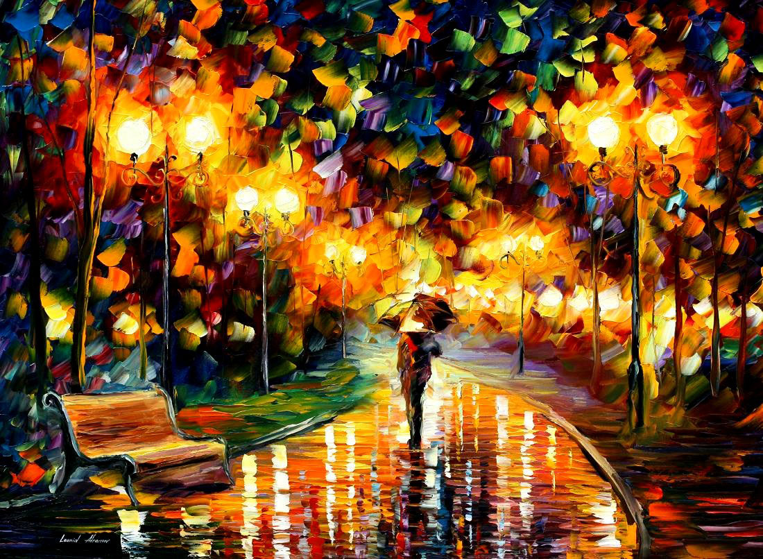 "TOUCH OF THE RAIN - ORIGINAL LIMITED EDITION OF 10 PALETTE KNIFE Oil Painting On Canvas By Leonid Afremov - Size 30""x40"" (75cmx100cm)"